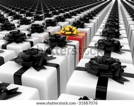 isolated black and white boxes with color single box