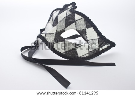 isolated black and white carnival mask