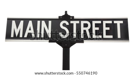 Isolated black and white MAIN STREET street sign. Horizontal. #550746190