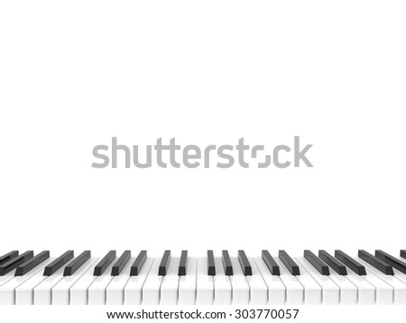 isolated black and white shiny piano keyboard