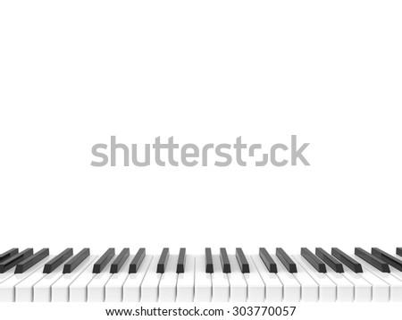 isolated black and white shiny piano keyboard