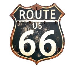 Isolated black and white vintage Route 66 sign-The Mother Road memorialized in song by Bobby Troupe and in John Steinbeck's book and the movie