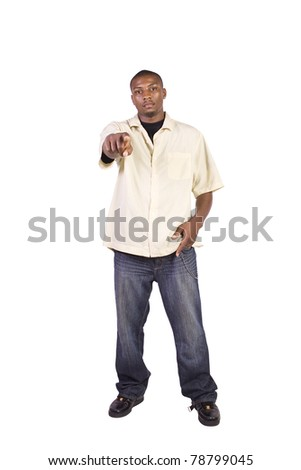 Isolated Black Businessman Pointing Towards the Camera