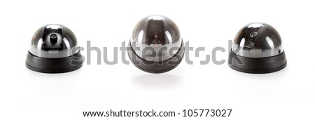 Isolated black Dome Camera collage  with leds on white background
