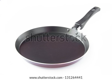 isolated black frying pan for pancake - stock photo