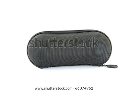 isolated black hard cover fabric glasses case on white