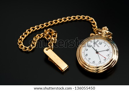 Isolated black image of a pocket watch