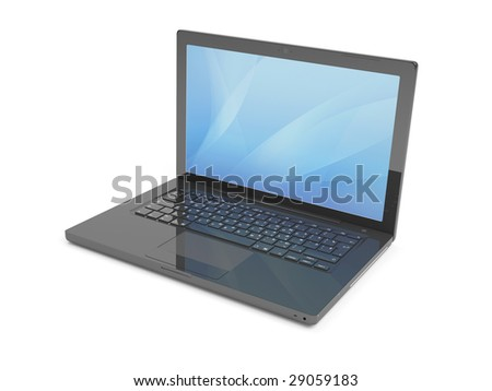Isolated  Black Laptop