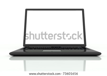 isolated black laptop closeup on white background in front view