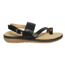 isolated black leather ladies sandal