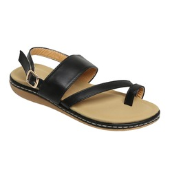 isolated black leather ladies sandal