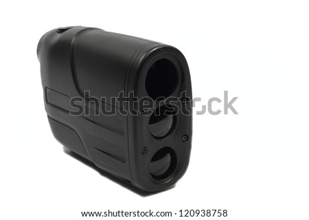 Isolated black plastic rangefinder used for golfing or hunting.