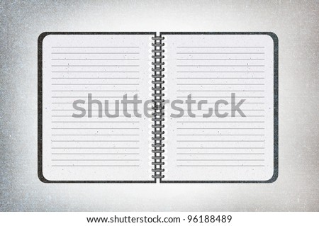 isolated black texture notebook on white,recycled paper craft stick on white background.