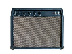 Isolated black vintage combo amplifier on white background with work path.