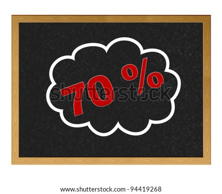 Isolated blackboard with 70 % discount.