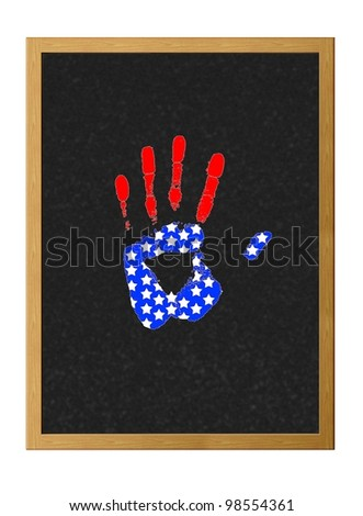 Isolated blackboard with hand USA.
