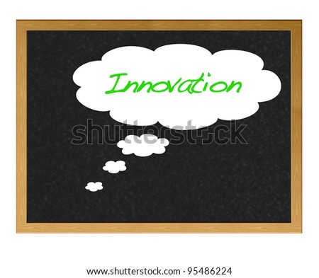 Isolated blackboard with innovation.