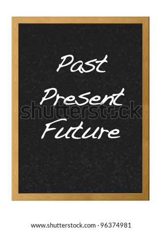 Isolated blackboard with Past, present,future.