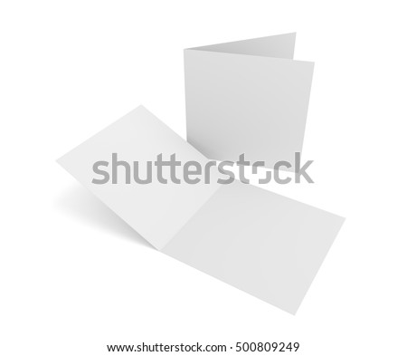 Isolated blank 3d rendering open square greeting cards on white