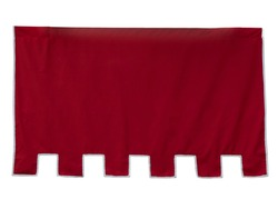 Isolated blank medieval hanging red banner