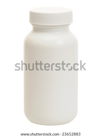 isolated blank plastic medicine container on white background ready for label design