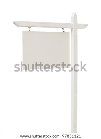 Isolated Blank Real Estate Sign with Clipping Path.