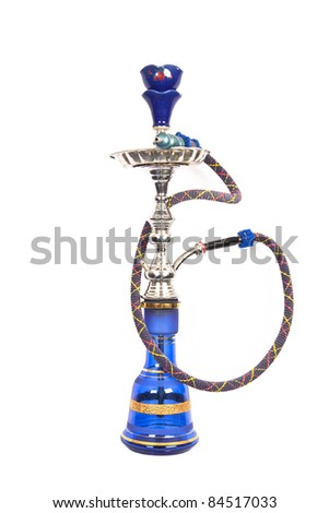 Isolated blue and silver arabic water pipe
