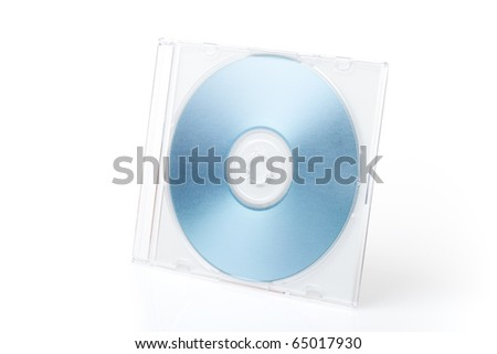 Isolated blue DVD on the box on white background