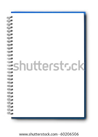 isolated blue notebook on white.
