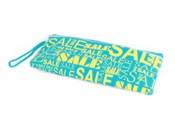 isolated blue pencil case with a yellow label with clipping path on white background