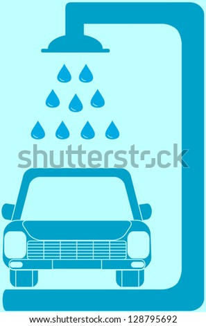 isolated blue sign with car wash silhouette