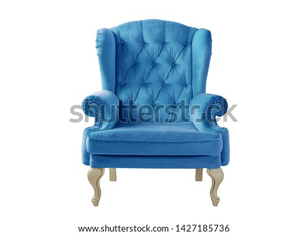 Isolated blue velvet armchair. Vintage chair. Insulated furniture #1427185736