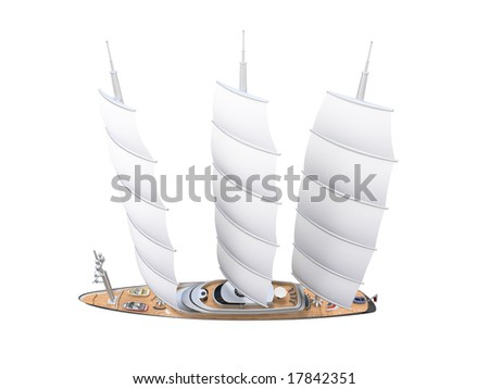 isolated boat on a white background