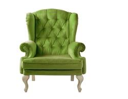 Isolated bottle green armchair. Vintage armchair. Insulated furniture. Bottle green chair. Bottle green velvet armchair