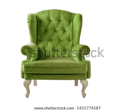 Isolated bottle green armchair. Vintage armchair. Insulated furniture. Bottle green chair. Bottle green velvet armchair