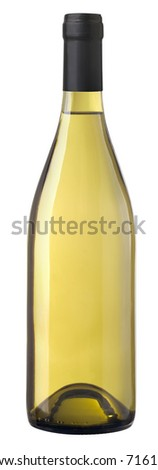 Isolated bottle of Chardonnay wine ready for pasting labels. Clipping path included.