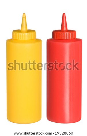 Isolated bottles of ketchup and mustard.  These were composed backlighting to give a pure white negative space to allow you to easily cut one out and use the bottles independently.