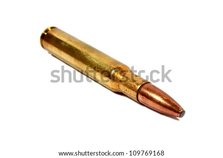 Isolated brass .306 caliber bullet used for hunting rifle.