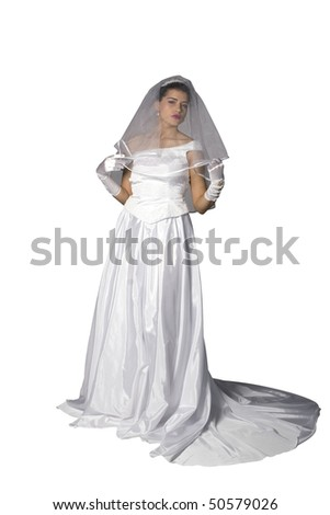 Isolated bride on her wedding day. Part of a photo series. Studio shot