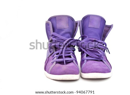 isolated bright violet sneakers