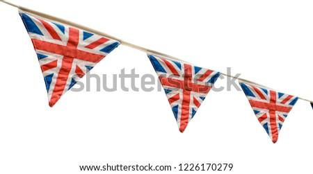 Isolated British Union Jack Flag Fabric Bunting #1226170279