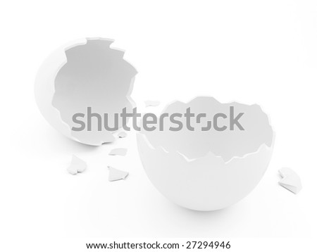 Isolated Broken Egg