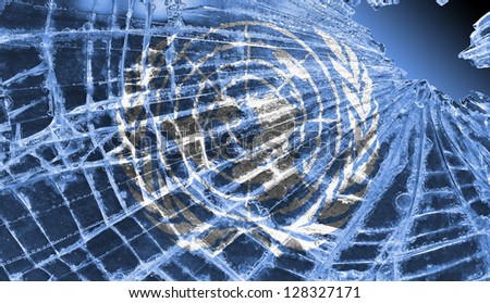 Isolated broken glass or ice with a flag, United Nations