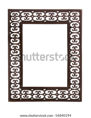 Isolated bronze colored carved picture frame against white