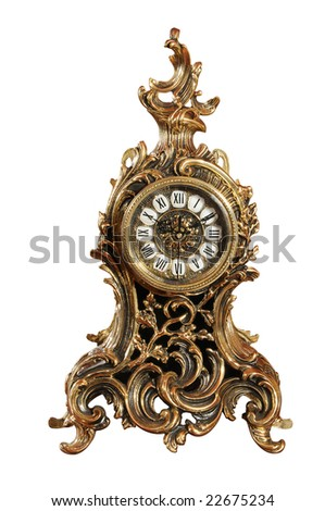 isolated bronze old-fashioned clock with clipping path. Series 22178551, 22823665