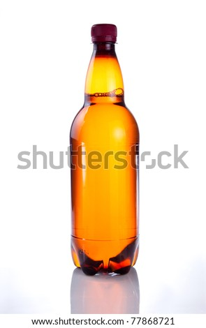 Isolated Brown plastic bottle of beer drink without label on a white background