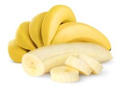 Isolated bunch of banana fruits. Peeled cut bananas isolated on white background