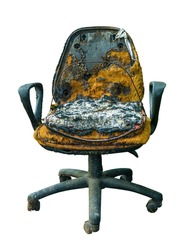 Isolated Burned Office Chair With Melted Plastic