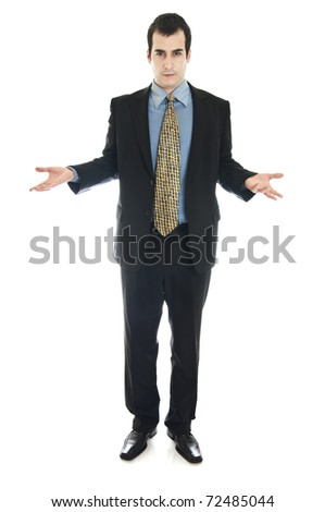Isolated business man gesturing know nothing