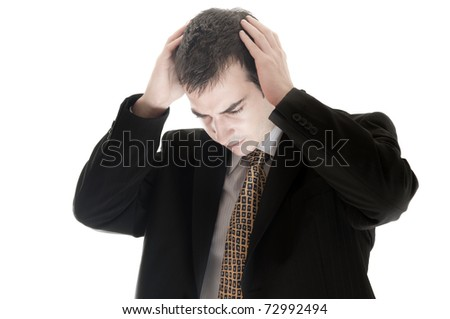 Isolated business man in depression